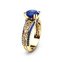 peridot 14k anillos de oro al por mayor-Zafiro Ahueca hacia fuera el anillo de la flor 14 K oro dedo diamante Bizuteria Peridot Mystic Anillos de piedras preciosas Ruby Diamante anillo mujeres