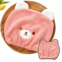 Wholesale fleece baby hats for sale - Group buy Cartoon Baby Shower Cap Magic Quick Dry Hair Coral Fleece Towel Cute Bear Drying Turban Wrap Hat Baby Kid Bathing Dry Hair Caps VT1711