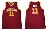 einheitliche farbe rot großhandel-Nash College Trikots Santa Clara Broncos Basketball 13 Steve 11 Nash Jersey Rot Für Sportler Uniformen Team Farbe Atmungsaktiv Gute Qualität
