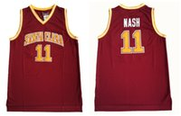 cor uniforme vermelho venda por atacado-Nash Faculdade Jerseys Santa Clara Broncos Basquete 13 Steve 11 Nash Jersey Vermelho Para Os Fãs de Desporto Uniformes Equipe Cor Respirável Boa Qualidade