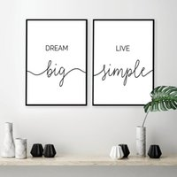Wholesale SURELIFE Dream Big Live Simple Life Quote Black and White Wall Art Prints Canvas Paintings Poster Pictures Bedroom Home Decor