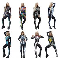 Wholesale scary cosplay resale online - New Arrival Women Sexy Costume Bodysuit Halloween Skeleton Rose D Print Scary Costume Skinny Jumpsuit Bodysuit Halloween Cosplay Suit