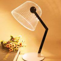 ingrosso visione live-3D effetto stereo Vision LED Lampada da tavolo Supporto in legno acrilico Paralume LED Light Living Room Camera da letto Lampada da lettura con spina USB