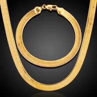 ingrosso set di catene mens-7mm larghezza alta qualità 18 k placcato oro catene di serpenti collane mens moda gioielli collana bracciale 2 pz / set