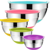Wholesale mix bowls for sale - Group buy 5 Pieces Stainless Steel Mixing Bowls cm Diameter Metal Nesting Bowls with Colorful Airtight Lids Non Slip Bottoms