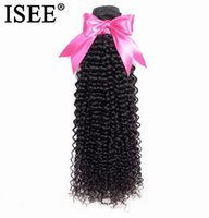 Wholesale chinese kinky curly hair weave resale online - 2020 New ISEE HAIR Brazilian Kinky Curly Hair Bundles Remy Human Extension Natural Color Bundles kunky Curly Hair Weaves