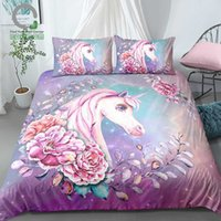 Wholesale unicorn bedding sets for sale - Group buy BOMCOM D Digital Printing Galaxy Background Watercolor Hand Drawn Floral Unicorn Bedding Set Microfiber Pink