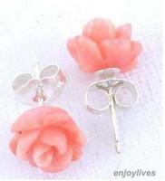 pendientes de coral rosa de plata de ley al por mayor-Venta al por mayor good @ Pink Red Coral Rose Flower 925 Sterling Silver Stud Pendientes mujer para