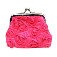 розовые женские сумочки оптовых-coin purse Women wallets mini bags Rose Flower Small Wallet Coin Purse Clutch Handbag Bag porte monnaie femme*0.35