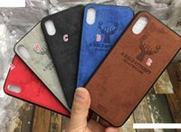 pele do animal da tampa do iphone venda por atacado-Deer híbrido tpu + pu soft case de couro para iphone xr x xs max 8 7 6 6 s plus folheados colando moda animal tampa da pele do telefone celular