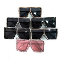 Wholesale colorful square sunglasses women resale online - Diamond Big Box Sunglasses Exaggeration Square Spectacles Men And Women Hand Made Brilliant Eyeglass Colorful Pink dt C1