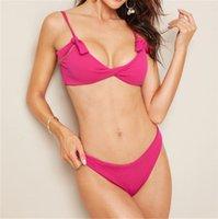 ingrosso rosa bikini caldo del reggiseno-2019 Sexy Bikini Donna Solid Hot Pink Push Up Reggiseno imbottito Costume da bagno femminile Nodo Bow Costume da bagno Perizoma Costumi da bagno Stroj Kapielowy