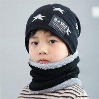 ingrosso bambini fiori viola viola-Bambini inverno caldo set 2 pezzi cappello lavorato a maglia in pile spesso + fazzoletto coreano ragazzi ragazze cappello di lana sciarpe set di moda