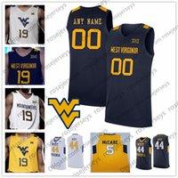 oeste camisa de basquete venda por atacado-Personalizado West Virginia Mountaineers 2020 Basketball Qualquer Nome Número Cinza Branco Azul Navy Yellow 5 McCabe 2 Brandon Knapper WVU Jersey 4XL