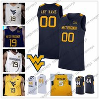 jarras de basquete amarelo venda por atacado-Personalizado West Virginia Mountaineers 2020 Basketball Qualquer Nome Número Cinza Branco Azul Navy Yellow 5 McCabe 2 Brandon Knapper WVU Jersey 4XL