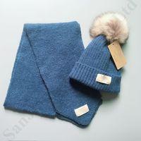 bufandas de niño al por mayor-Australia Designer UG Kids Scarf Hat 2 piezas Set Brand Baby Boy Girl Pompon Beanie Gorro Warm Winter Hat Cap Designer Scarf Scarves C91009