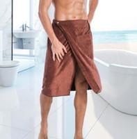 toalhas de banho para homens venda por atacado-Homens Wearable toalha Mágica Mircofiber Toalha De Banho Com Bolso De Natação Suave Bath Towel 140 * 70 KKA6839