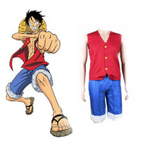 ingrosso giacche giapponesi uomini-Costumi giapponesi One Piece Cosplay Anime Monkey D Luffy Vest Pantaloni Cosplay Set Red Waistcost Pantaloncini blu Uomo Abiti