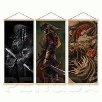 impressão japonesa venda por atacado-Home Decor Estilo Nórdico Lona Imagem Impresso Japonês Samurai Dragon Scroll Pintura Pendurada Para Sala de estar Arte Da Parede cartaz