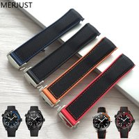 Wholesale charm belt watch resale online - Merjust mm Rubber Silicone With Nylon Replacement Watch Band Strap Belt For Omega Planet Ocean Blue Black Red T190620