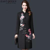 revestimento chinês do revestimento das mulheres venda por atacado-Bordado do vintage das mulheres roupa tradicional chinesa outono jaqueta 2018 new arrivals longo casaco 3XL 4XL 5XL AA2893 YQ