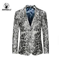 blazers de hombre blanco al por mayor-Ropa de la etapa Minglu marca de fábrica adelgazan la chaqueta de los hombres del partido floral blanco para cantantes Dos chaquetas casuales Botón para los hombres 5XL 6XL