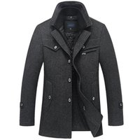chaquetas de chaquetón al por mayor-Abrigo de invierno Hombre Lana Larga Cazadora Gruesa Abrigo de lana Casaco masculino Palto Jaket Casual Trench Peacoat Chaquetas 5xl T2190606