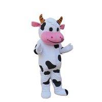 корова мультяшный персонаж оптовых-Хэллоуин молочная корова костюм талисмана высокое качество мультфильм китайский гигант аниме тема персонаж Рождественский карнавал партия костюмы