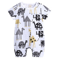 Wholesale jumpsuit pink 3m online - Baby Jumpsuit Kids Rompera Boys Girls Printing Cartoon Animals Crawling Jumpsuit Round Neck Short Sleeve Cotton