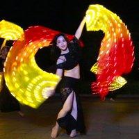 véu amarelo venda por atacado-90 * 180 cm Adulto Luminosa Amarelo Laranja Vermelho Luz LED Fan Veils Scarf para As Mulheres Bellydance Oriental Dança Do Ventre Acessório de Dança