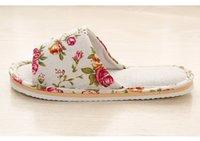 deslizador suave de interior al por mayor-B600 Primavera Otoño Mujer Zapatillas de casa Piso interior Suave Pareja Zapatillas de lino Ligero Unisex Zapatos de dormitorio Señoras Chanclas de lino