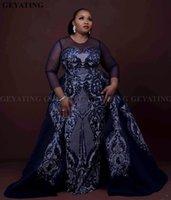 marineblau prom kleider sparkly groihandel-Sparkly Pailletten Navy Blue afrikanischen Abendkleid mit abnehmbaren Zug mit langen Ärmeln Elegante Frauen formale Abendkleider Plus Size