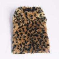 теплая зимняя одежда для собак оптовых-Одежда для собак осень зима леопардовый плащ пальто для кошек плюшевый пудель тедди Поморская теплая куртка милая принцесса собачка день рождения