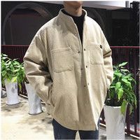 хаки цветное пальто оптовых-2018 New Autumn And Winter Corduroy Collar Collar Coat Couple Coat Solid Color Single-breasted Padded Cotton Khaki /