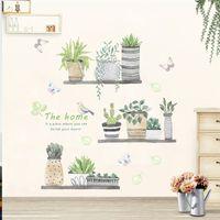 sticker d'autocollant mural achat en gros de-3d jardin plante fleur papillon stickers muraux pépinière Salon Chambre Magasin fenêtre fenêtre décor à la maison fleur sticker art affiche