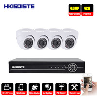sistema de vigilancia de red en interiores al por mayor-HKIXDISTE 5MP NVR Kit 4CH Sistema de videovigilancia en red 4pcs PoE 4.0MP Cámaras IP de cúpula blanca para interiores en interiores CCTV Seguridad