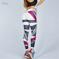 Wholesale girls corduroy trousers for sale - Group buy Print Leggings Women Fitness High Waist Push Up Trousers Breathable Spandex And Comfortable Workout Letter Girl Leggings