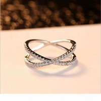 Wholesale sterling silver eternity band ring resale online - Classical Handamde Fashion Jewelry Real Sterling Silver Cute A Cubic Zirconia Eternity Ring Party Wedding Engagement Band Ring Set