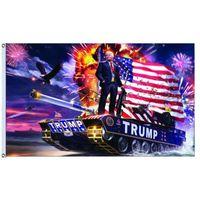 pancarta de ojales al por mayor-Trump tank flag Donald John Trump Amercia Flags Poliéster Lienzo Cabeza Metal Ojal Personalidad Decortive Trump Banner Bandera MMA1328