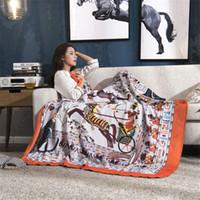 mantas de acrílico para adultos al por mayor-H Manta Chunky Knit Blanket Home Winter Fleece Adultos Oficina de viaje Hogar Mantas de lana para camas