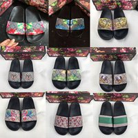 Wholesale women flip flops flowers resale online - Slippers Men Women Sandals Designer Shoes Brand Slide Summer Fashion Wide Flat Slippery Sandals Slipper Flip Flop size Flower box
