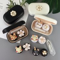 Wholesale storage box rabbit resale online - Contact Lens Case Animal Glasses Case With Mirror Eyes Contact Lenses Box For Glasses Cartoon Rabbit Pearl Container Glasses Case