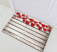 tapete do banheiro do coração venda por atacado-Acessórios Valentine Red Heart Banho Mat Right Angle antiderrapante Porta Pad Crianças 40x60cm