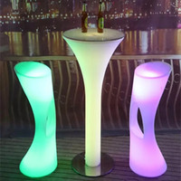 Wholesale home stool resale online - New Patio Bar Stools led illuminated rechargeable bar table set growing Lighting table Chair waterproof out door use Garden Lawn home decor