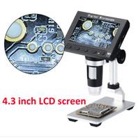 microscopio de 5mp al por mayor-4.3 pulgadas LCD 1000X 8 LED Digital Microscope Camera 1080P endescope 5MP HD Magnifier Camera con soporte de metal