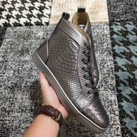 Wholesale crocodile leather shoes women resale online - Best Quality crocodile Genuine Leather Men s Sneakers Red Bottom Women Men High Top Luxurious Casual Flat Designer Party Dress Walking Shoes
