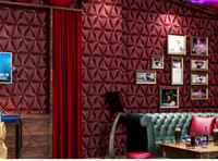 papel de pared con textura al por mayor-Color rojo PVC Wallpapers Rollos Textured Negro Blanco Wallpapers Geométrico Metálico Vinilo Wall Paper Home Decor Sala