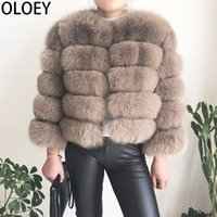 Wholesale fox shipping for sale - Group buy High quality real fox fur coat female winter fashion warm leather natural fur coat sleeve short jacket T200106