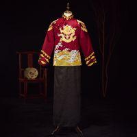 vêtements de marié achat en gros de-Broderie Dragon Hommes Vintage Manteau + Robe Mariage Vêtements Costume De Tang Chinois Traditionnel Ancien Costume De Mariage Marié