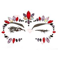 Discount diamond tattoo stickers Halloween Luminous Acryl Polyresin Diamond Stickers Face Decoration Glitter Crystal tattoo Stickers For Women Face 34 Designs 08